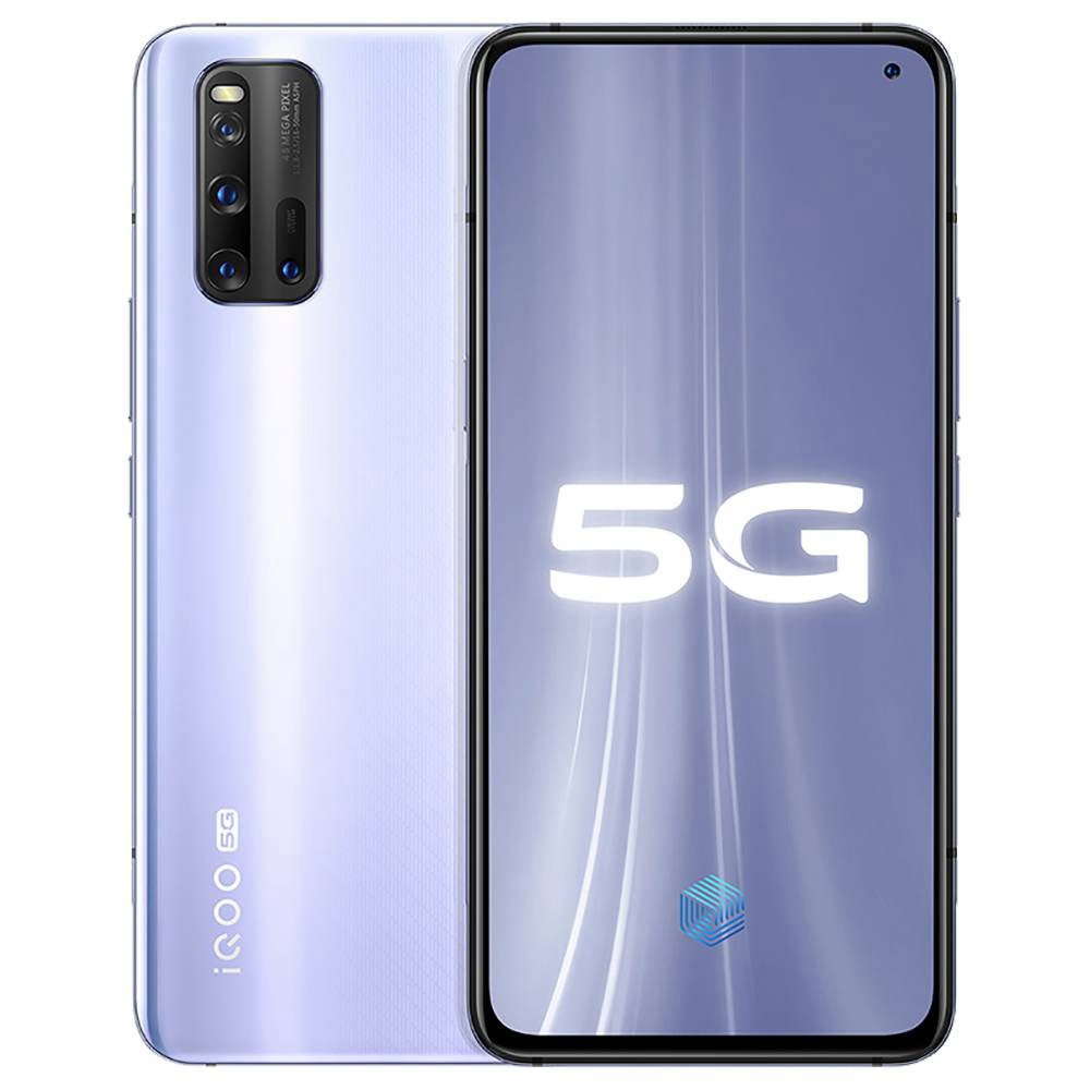 VIVO iQOO 3 5G Smartphone 6.44 Inch FHD + Screen Qualcomm Snapdragon 865 Octa Core 12GB RAM 128GB ROM 48.0MP + 13.0MP + 13.0MP + 2.0MP Quad Rear Camera 4440mAh Battery Android 10.0 - Silver