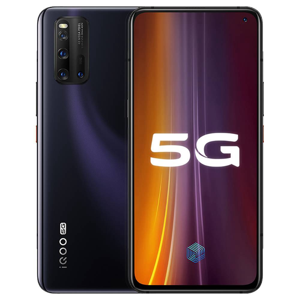 VIVO iQOO 3 5G Smartphone 6.44 Inch FHD + Screen Qualcomm Snapdragon 865 Octa Core 8GB RAM 128GB ROM 48.0MP + 13.0MP + 13.0MP + 2.0MP Quad Rear Camera 4440mAh Battery Android 10.0 - Black