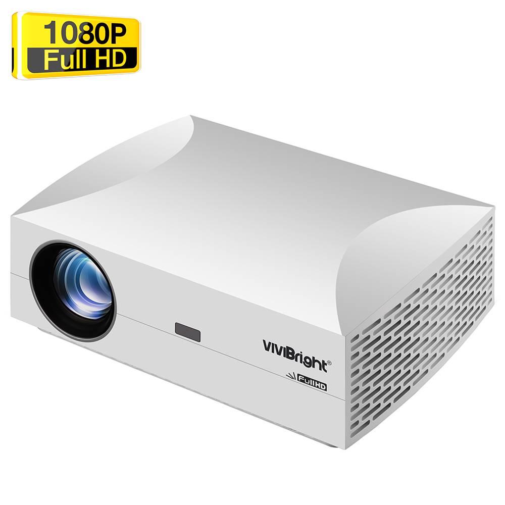 """VIVIBRIGHT F30 Родной 1080P светодиодный проектор 4800 люмен 200 """"Размер изображения 15000: 1 Коэффициент контрастности Hi-Fi стереодинамик HDMI SPDIF - белый"""
