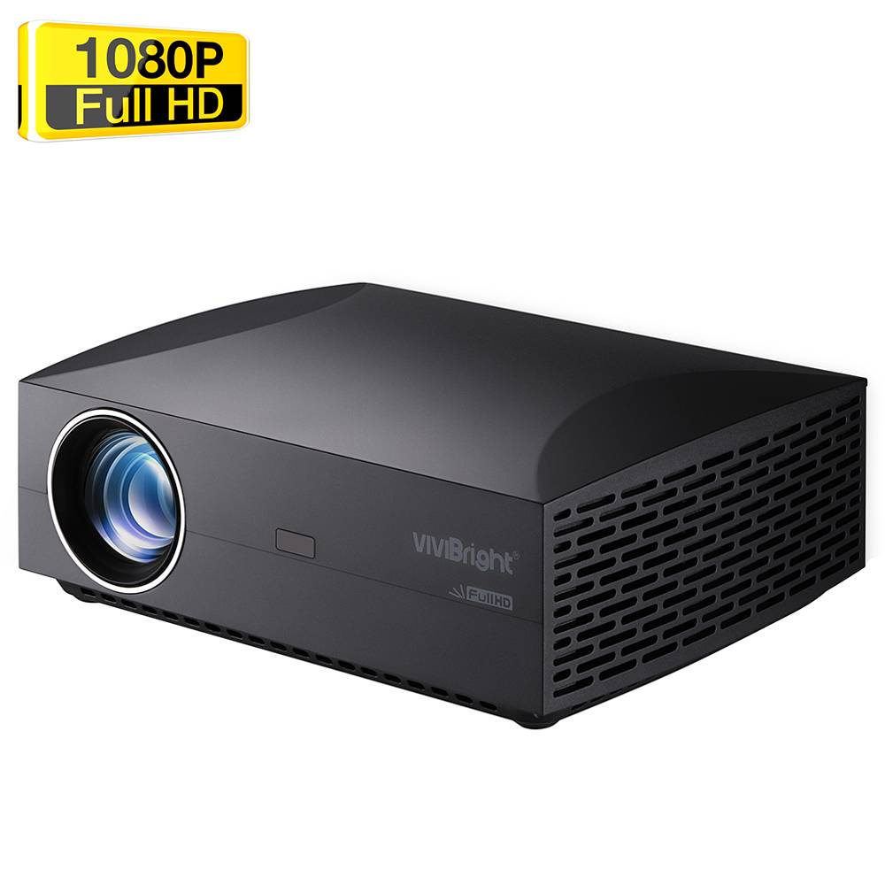 """VIVIBRIGHT F30UP Встроенный светодиодный проектор 1080P 4800 люмен 200 """"Размер изображения 15000: 1 Стереодинамик с контрастностью SPDIF HDMI - черный"""