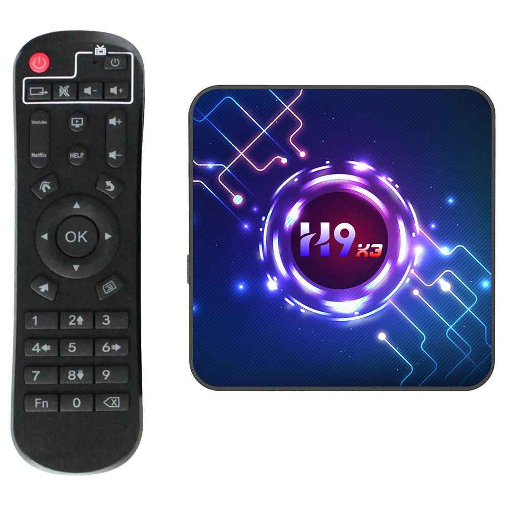 H9-X3 Amlogic S905x3 4GB/64GB Android 9.0 8K Video Decoding TV Box with Mobile Control Youtube Netflix Google Play 2.4G+5.8G WiFi Bluetooth LAN USB3.0 HDMI 2.1 - Black