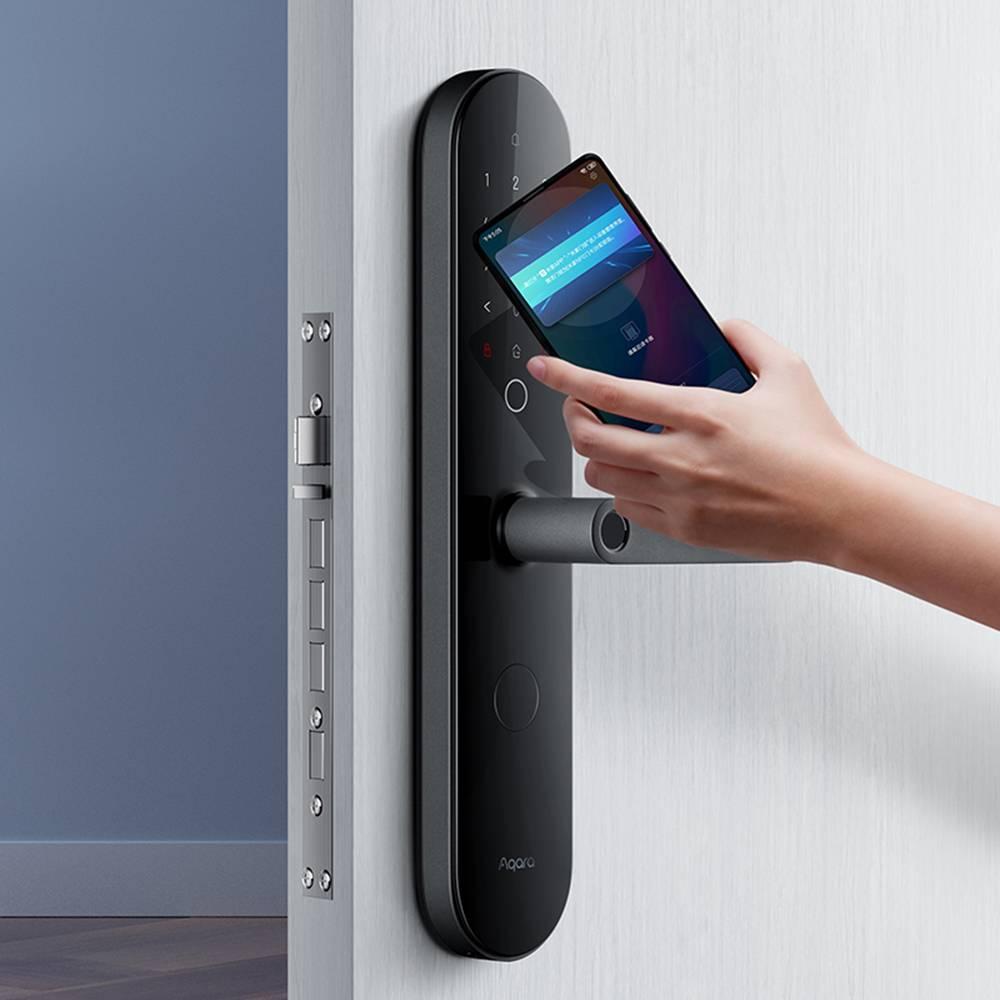 Aqara N100 Smart Door Lock Impronta digitale Password Bluetooth Sblocco NFC Funziona con Mijia APP Apple HomeKit Smart Linkage con campanello da Xiaomi Youpin - Nero
