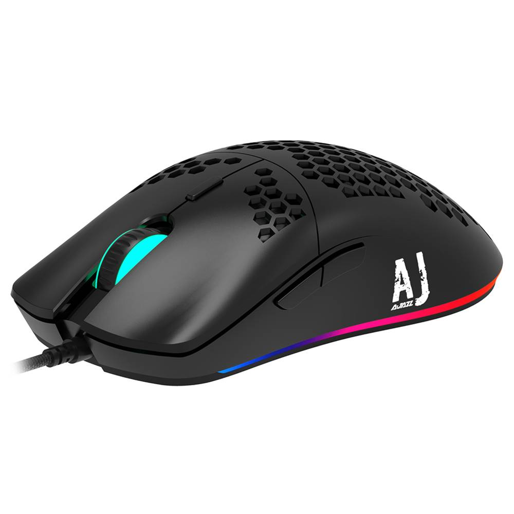Ajazz AJ390 Ultralight Optical Filaire Mouse Hollow-out RGB Light 16000 DPI Réglable 7 touches - Noir