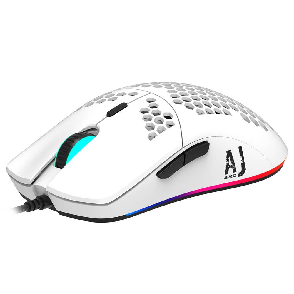 Ajazz AJ390 Ultraleichte optische kabelgebundene Maus Hohlraum-RGB-Licht 16000 DPI Einstellbare 7 Tasten - Weiß