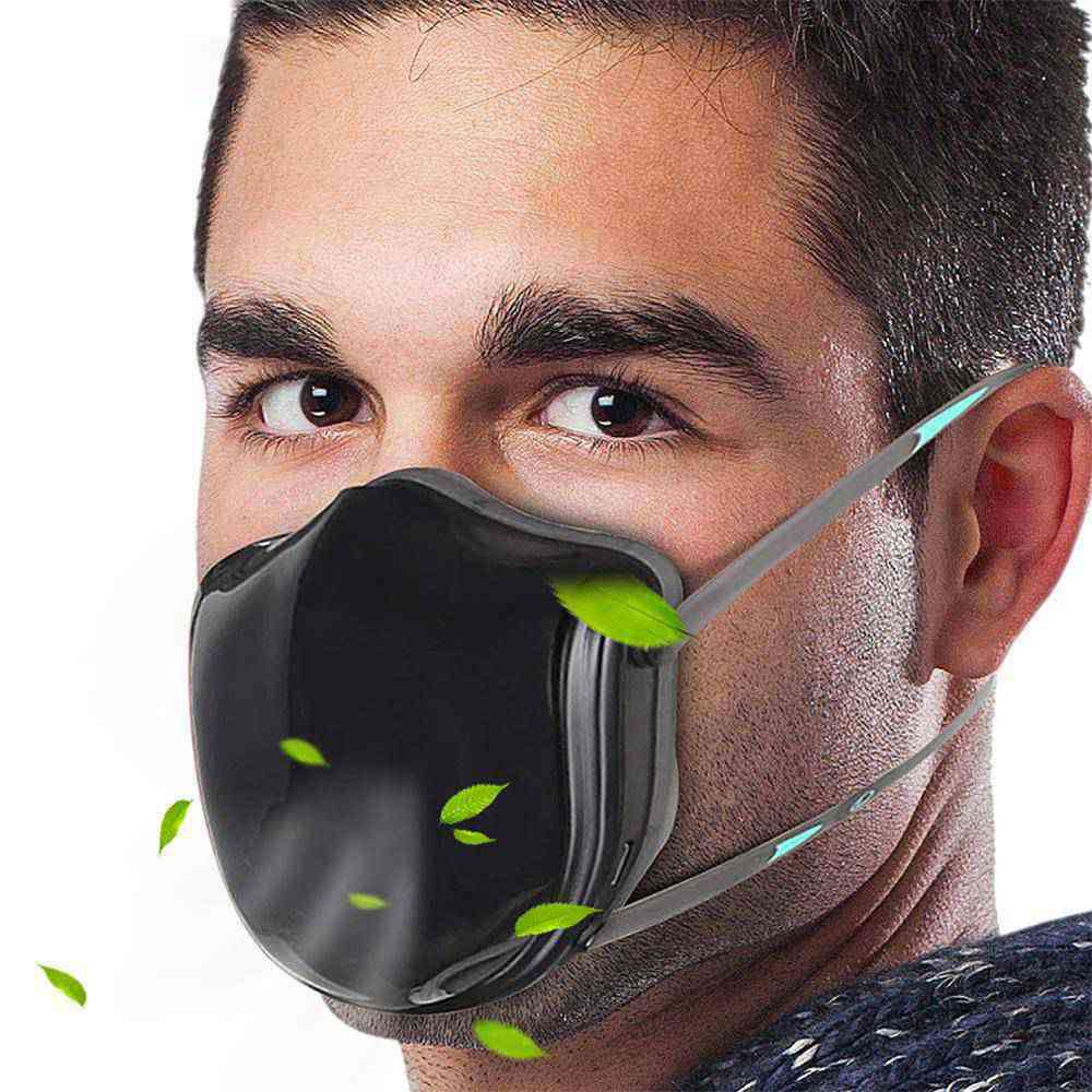 Reusable Smart Electric N95 Face Mask Q5 Pro With Activated carbon filter, Automatic Air-Purifying Supply with 2PCS Replacement Filters For PM2.5 Anti-Pollution Exhaust Gas Pollen Allergy - Black