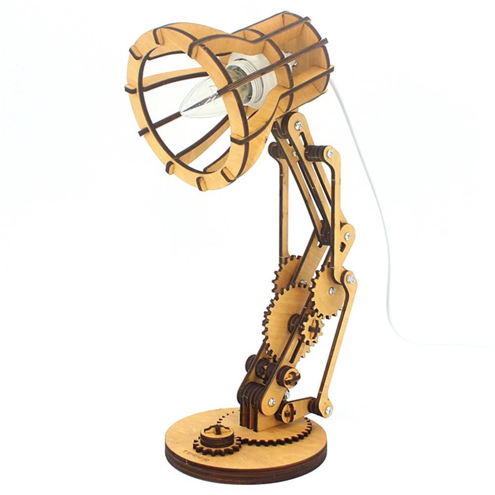 Kreatív, összecsukható asztali lámpaállvány izzó nélkül, LED szemvédelem otthoni hálóteremben hálószoba hálószoba - tölgy