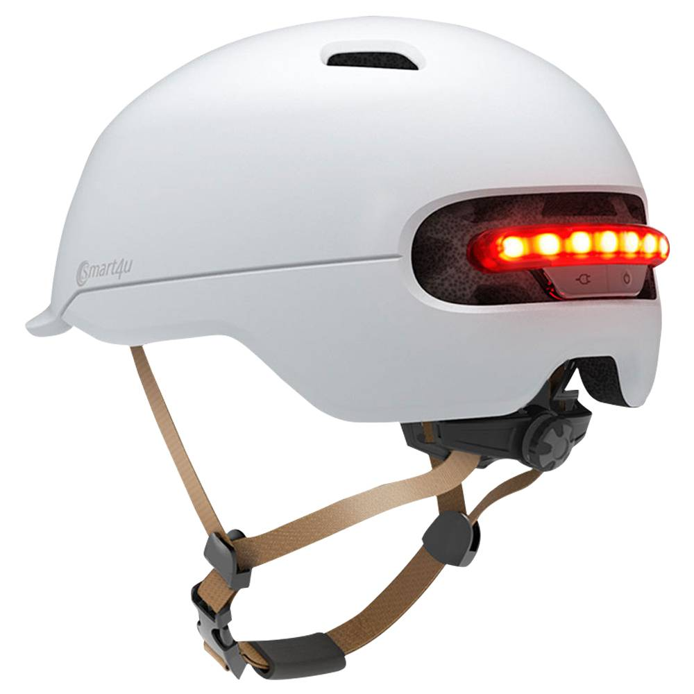 Xiaomi Smart4u SH50 Bicycle Smart Flash Helmet Automatic Light Perception Warning Light Long Battery Life IPX4 Waterproof Size L - White