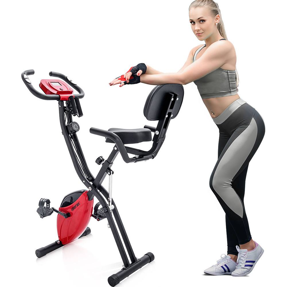 Merax X-Bike Exercise Bike Magnetic Folding Fitness Bike 2.5 kg Flywheel LCD Display For Cardio Workout Cycling Indoor Exercise Training - Black