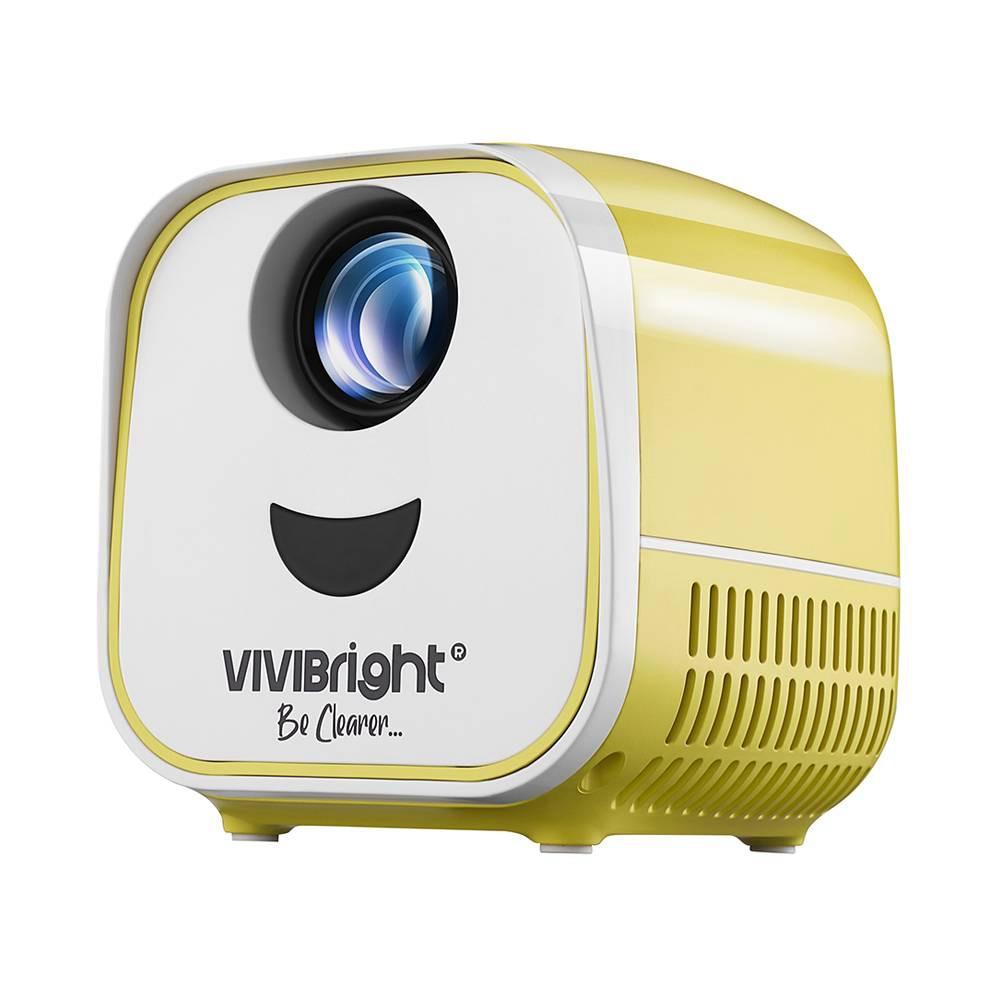 """Светодиодный проектор VIVIBRIGHT L1 2200LM 480P 120 """"Размер изображения 8000: 1 Стереодинамик с контрастностью HDMI - Yeellow"""