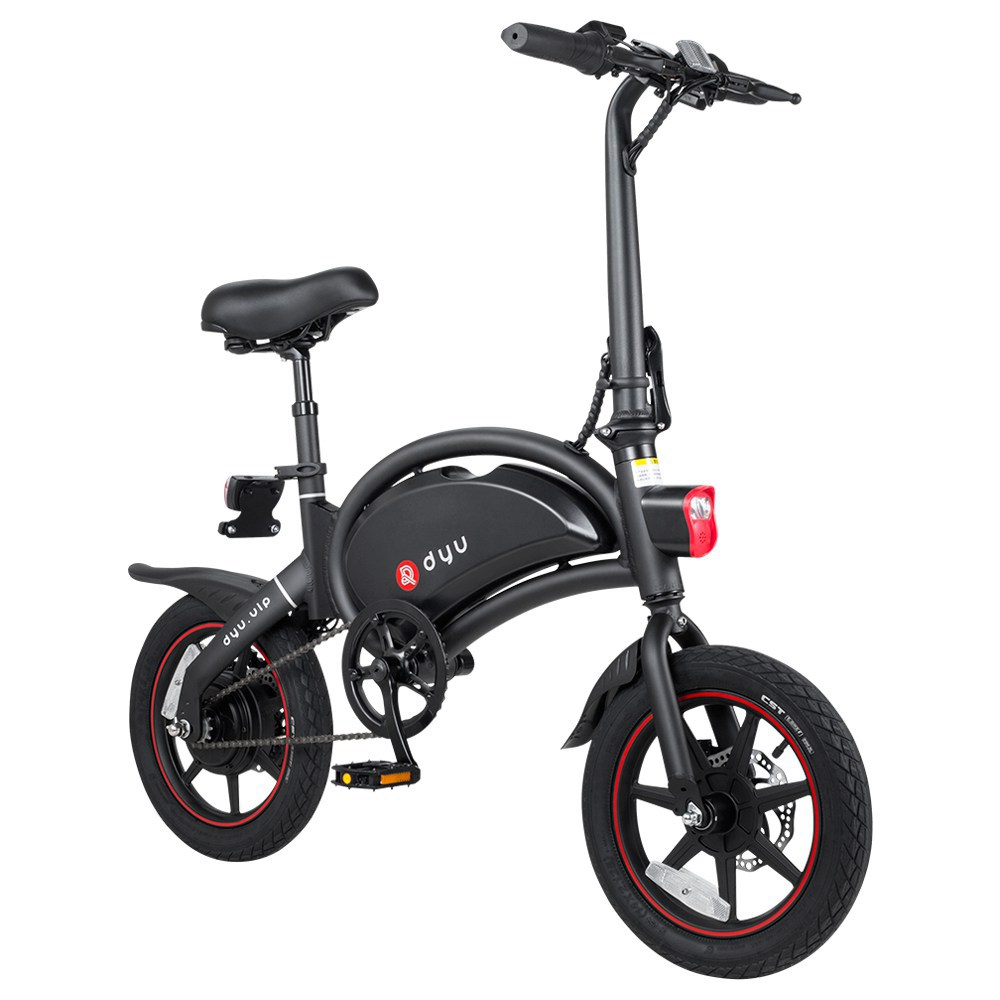 DYU D3+ Folding Moped Electric Bike 14 Inch Inflatable Rubber Tires 240W Motor Max Speed 25km/h Up To 45km Range Dual Disc Brakes Adjustable Height - Black