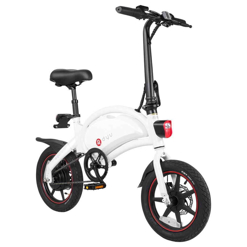 Vélo électrique cyclomoteur pliant DYU D3 + Pneus en caoutchouc gonflables de 14 pouces Moteur 240W Vitesse maximale 25 km / h Jusqu'à 45 km Gamme de freins à double disque Hauteur réglable - Blanc