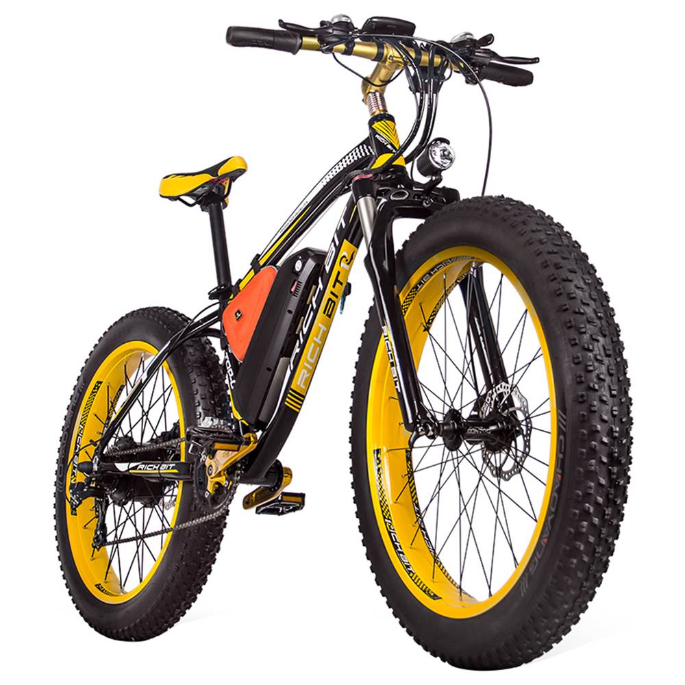 RICH BIT TOP-022 Electric Mountain Bike 26'' Tires 1000W Motor 35km/h Max Speed Up To 60km Range Dual Disc Brake LCD Display - Black Yellow