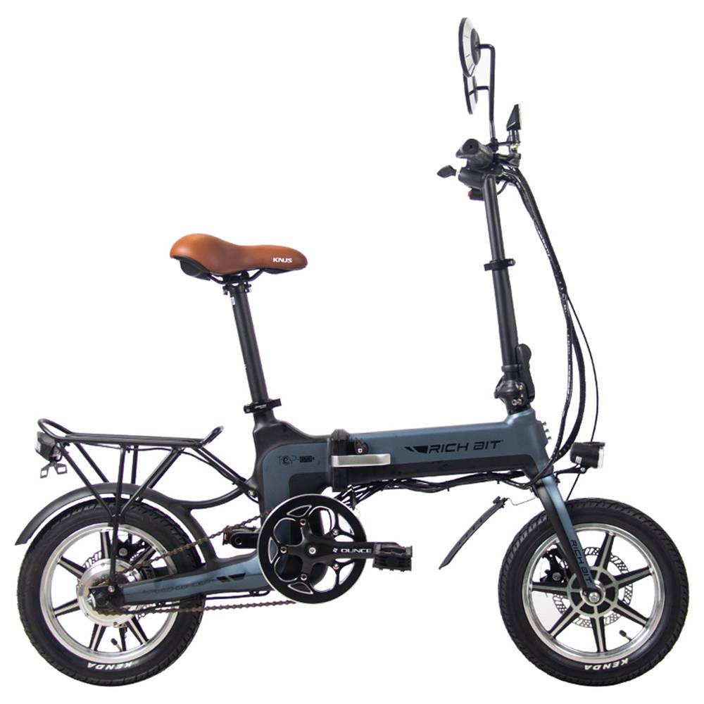 RICH BIT TOP-619 Folding Electric Moped Bike 14'' Tires 250W Brushless Motor 35km/h Max Speed Up To 70km Range Disc Brake LCD Display - Gray
