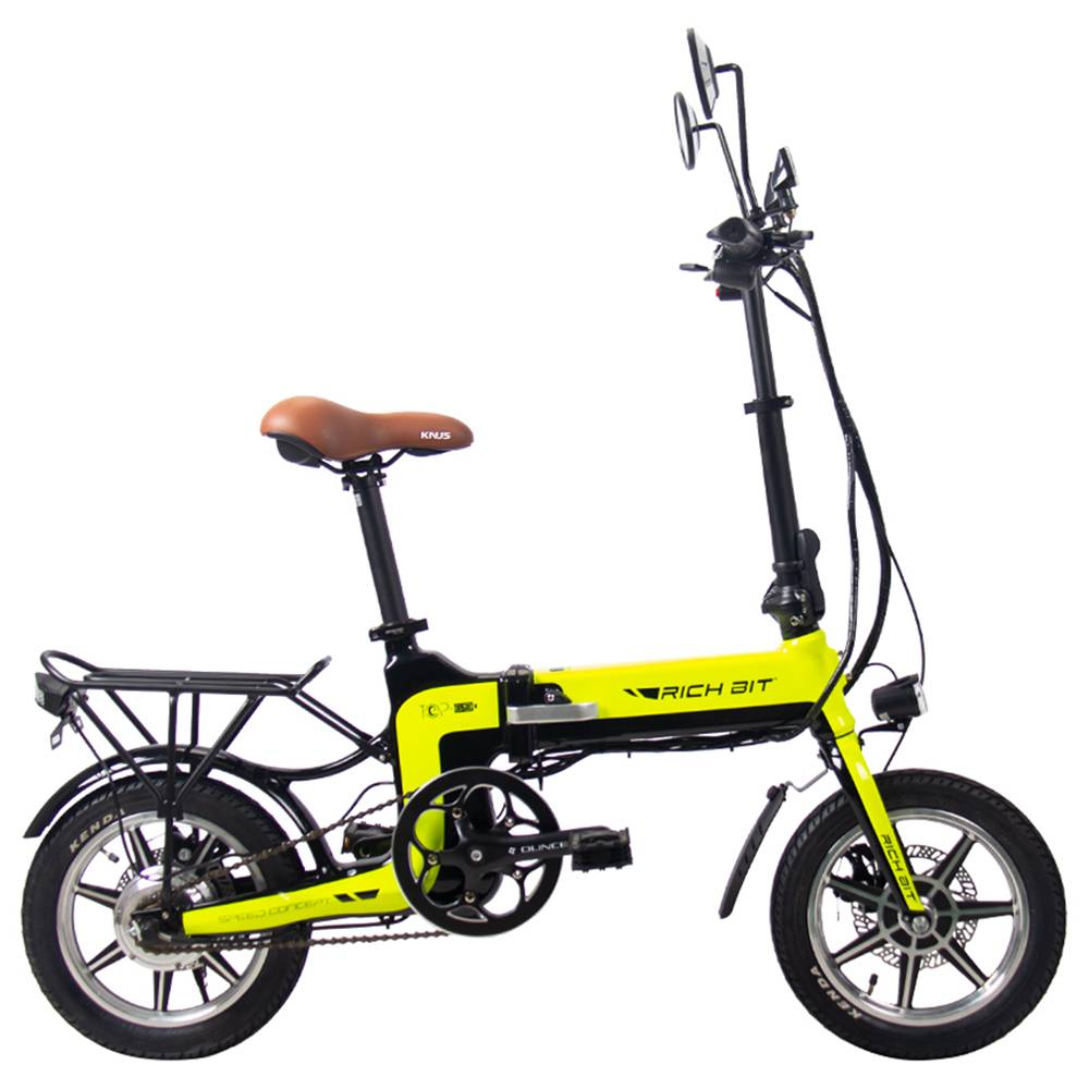 RICH BIT TOP-619 Folding Electric Moped Bike 14'' Tires 250W Brushless Motor 35km/h Max Speed Up To 70km Range Disc Brake LCD Display - Green