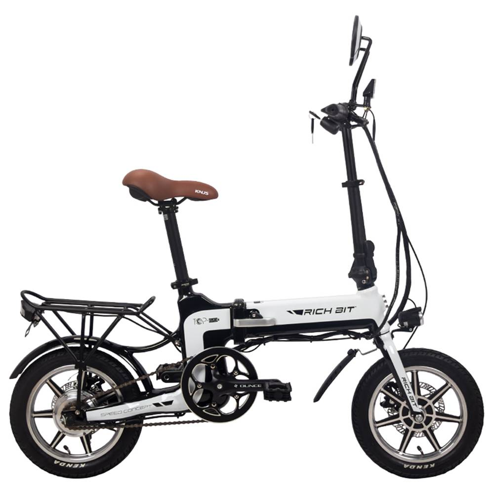 RICH BIT TOP-619 Folding Electric Moped Bike 14'' Tires 250W Brushless Motor 35km/h Max Speed Up To 70km Range Disc Brake LCD Display - White
