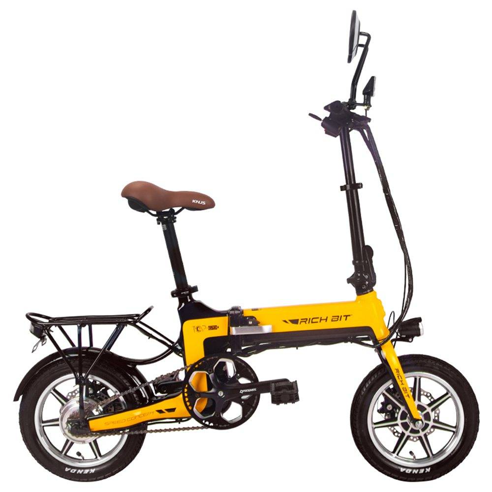 RICH BIT TOP-619 Folding Electric Moped Bike 14'' Tires 250W Brushless Motor 35km/h Max Speed Up To 70km Range Disc Brake LCD Display - Yellow