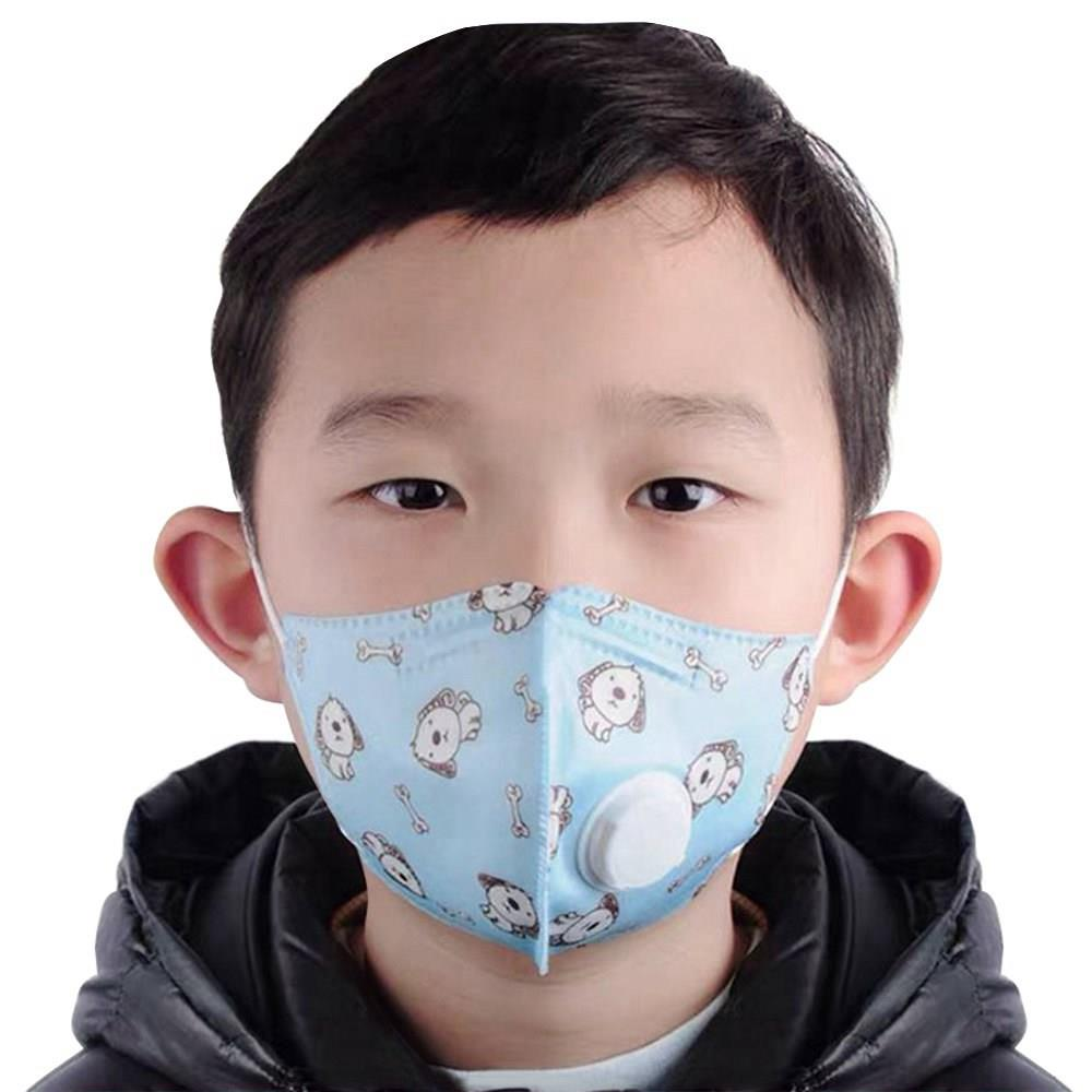 Disposable Kids KN95 Face Mask Respirator 5-Layers with Breathing Valve for 4-10 Years Children Anti-Pollution Exhaust Gas Pollen Allergy CE Approved - Random Color
