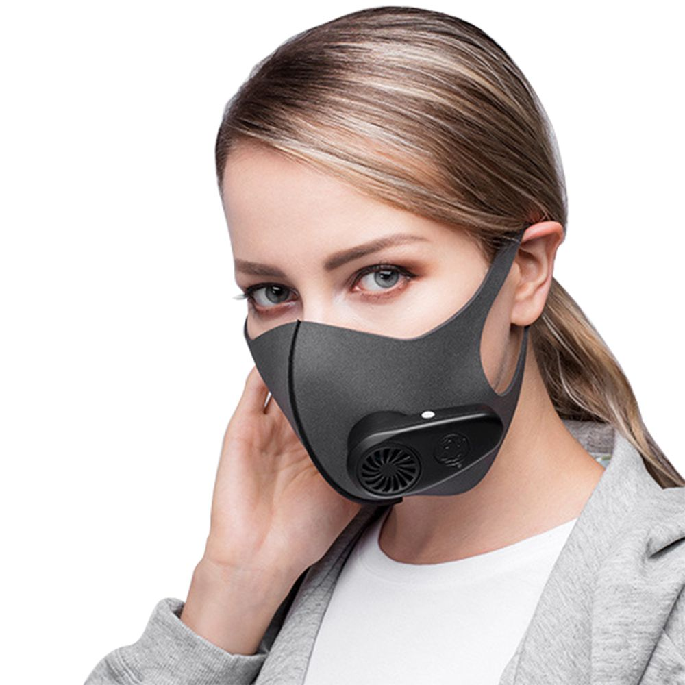 10Pcs Reusable Smart Electric Face Mask Automatic Air-Purifying For PM2.5 Anti Haze Exhaust Gas Pollen Dust - Black