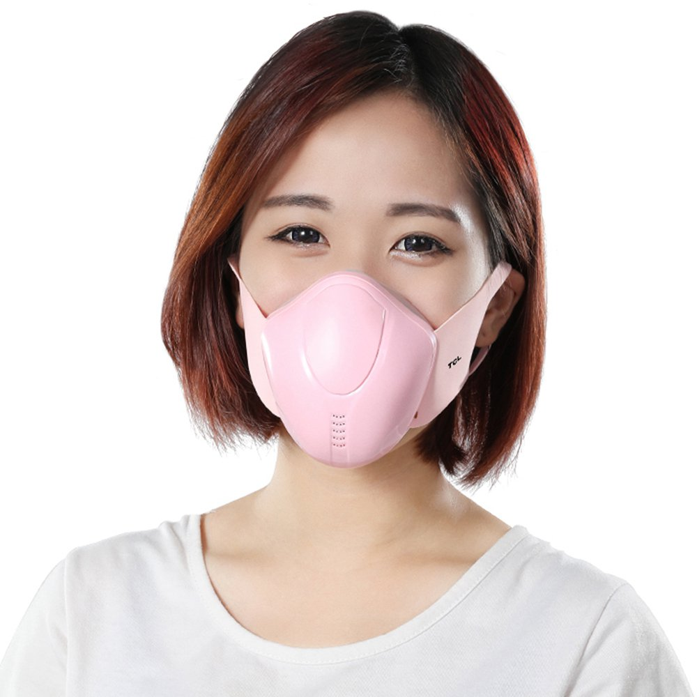 TCL Female Reusable Electric Respirator Face Mask 4 Layers Filter Automatic Air-Purifying Supply with Breathing Valve Battery Life Up to 6 Hours For PM2.5 Anti-Pollution Exhaust Gas Pollen Allergy - Pink