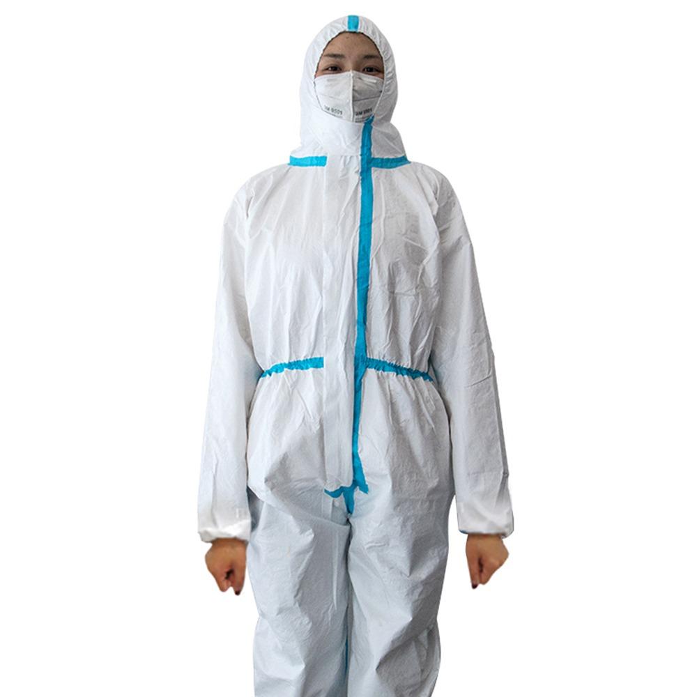 Αποστειρωμένη προστατευτική ενδυμασία μίας χρήσης (Κλάση ΙΙ) PP Μη υφασμένη αντοχή σε σκόνη σε σκόνη Ιατρική κοστούμι ICU - Λευκό