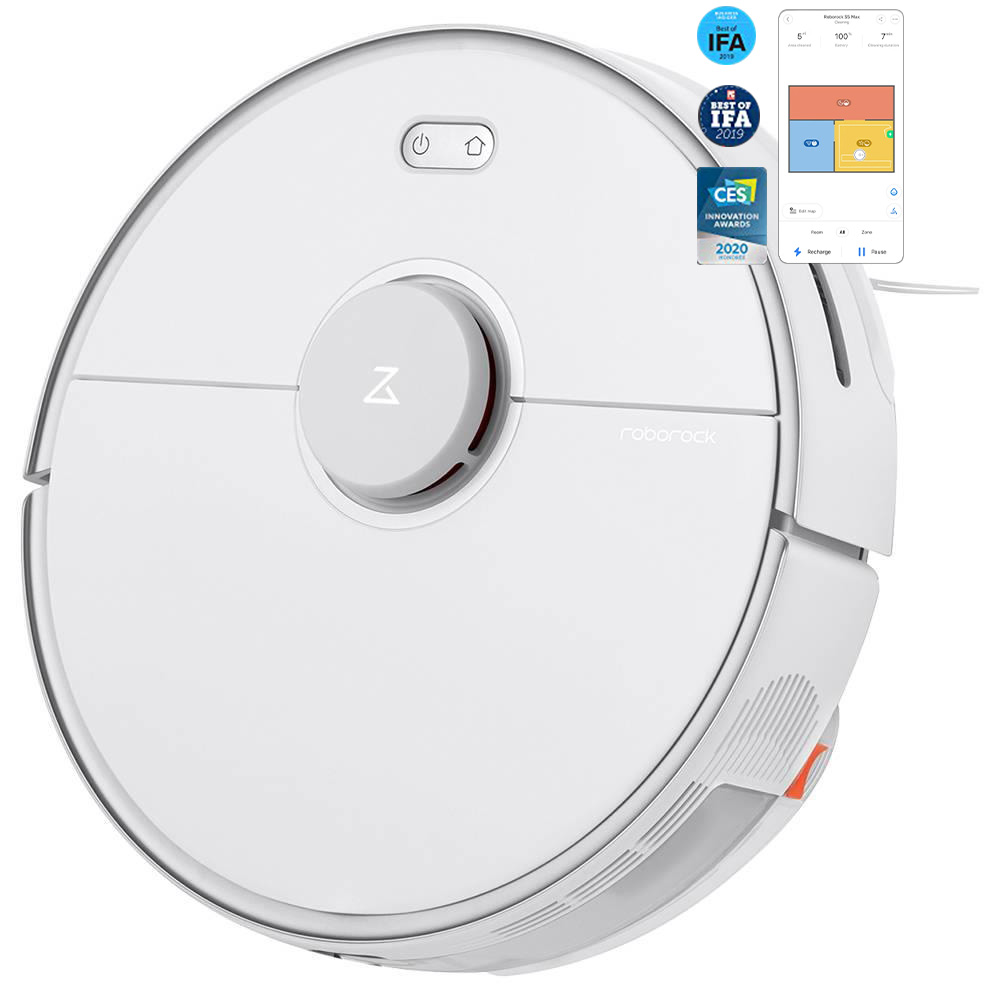 Roborock S5 Max Robot Vacuum Cleaner Virtual Wall Automatic Area Cleaning 2000pa Suction 2 in 1 Sweeping Mopping Function LDS Path Planning International Version - White