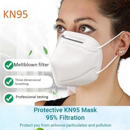 2PCS/Pack 4 ply KN95 Disposable Masks For Germ Protection With CE FDA Certified Anti Virus White - 3 packs