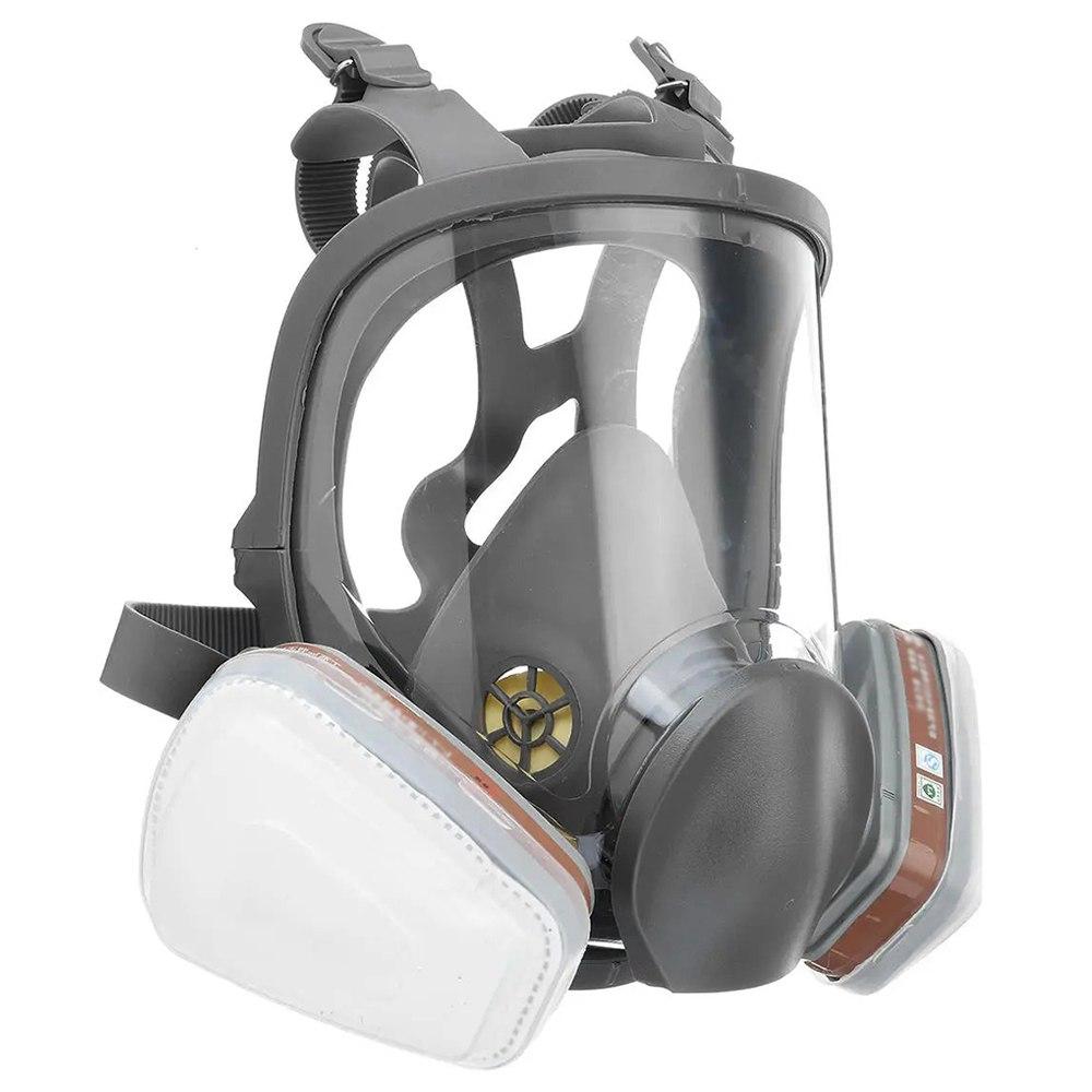 Μάσκα φυσικού αερίου πλήρους προσώπου Επαγγελματικό αναπνευστήρα κατά της βενζολικής φορμαλδεΰδης Αερίου για βαφή βιομηχανικής και χημικής χρήσης - Μαύρο