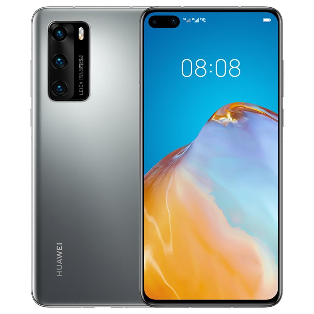 "HUAWEI P40 CN Sürüm 6.1 ""5G Smartphone Kirin 990 8GB RAM 256GB ROM Çift Ön Üçlü Arka Kameralar Android 10.0 Çift SIM Çift Bekleme - Gümüş"