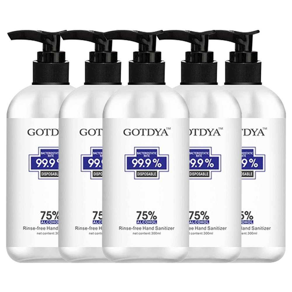 5PCS GOTDYA 300ml Wash Free Hand Alcohol Spray Gel Hand Sanitizer with 75% Alcohol Hand Soap for Daily Health Care