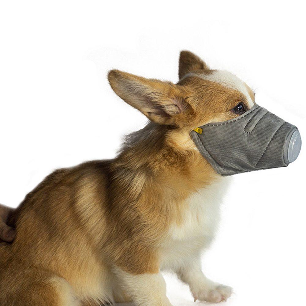 3ピースSEETOYS犬の口マスク犬用PM2.5ダスト排気調節可能なペットの犬マスクサイズM-グレー