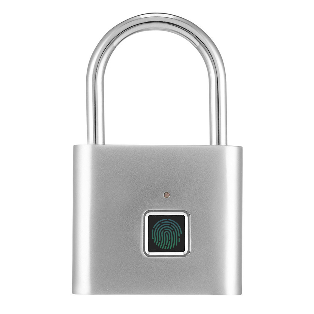 Smart Fingerprint Padlock USB Charging Keyless Anti-theft Luggage Suitcase Bag Security Home Electronic Door 0.5 Second Unlock Long Standby - Silver фото