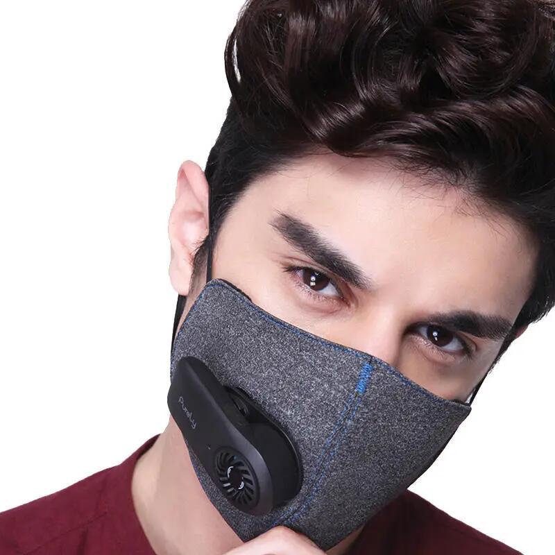 3PCS Xiaomi Ηλεκτρικά πλυντήρια ρούχων καθαρισμένα με ηλεκτρική μάσκα N95 Φίλτρο 4 επιπέδων 99% PM 2.5 Προστασία με αναπνευστική βαλβίδα Αυτόματη παροχή αέρα καθαρισμού για αλλεργίες κατά της ρύπανσης Haze-Μαύρο