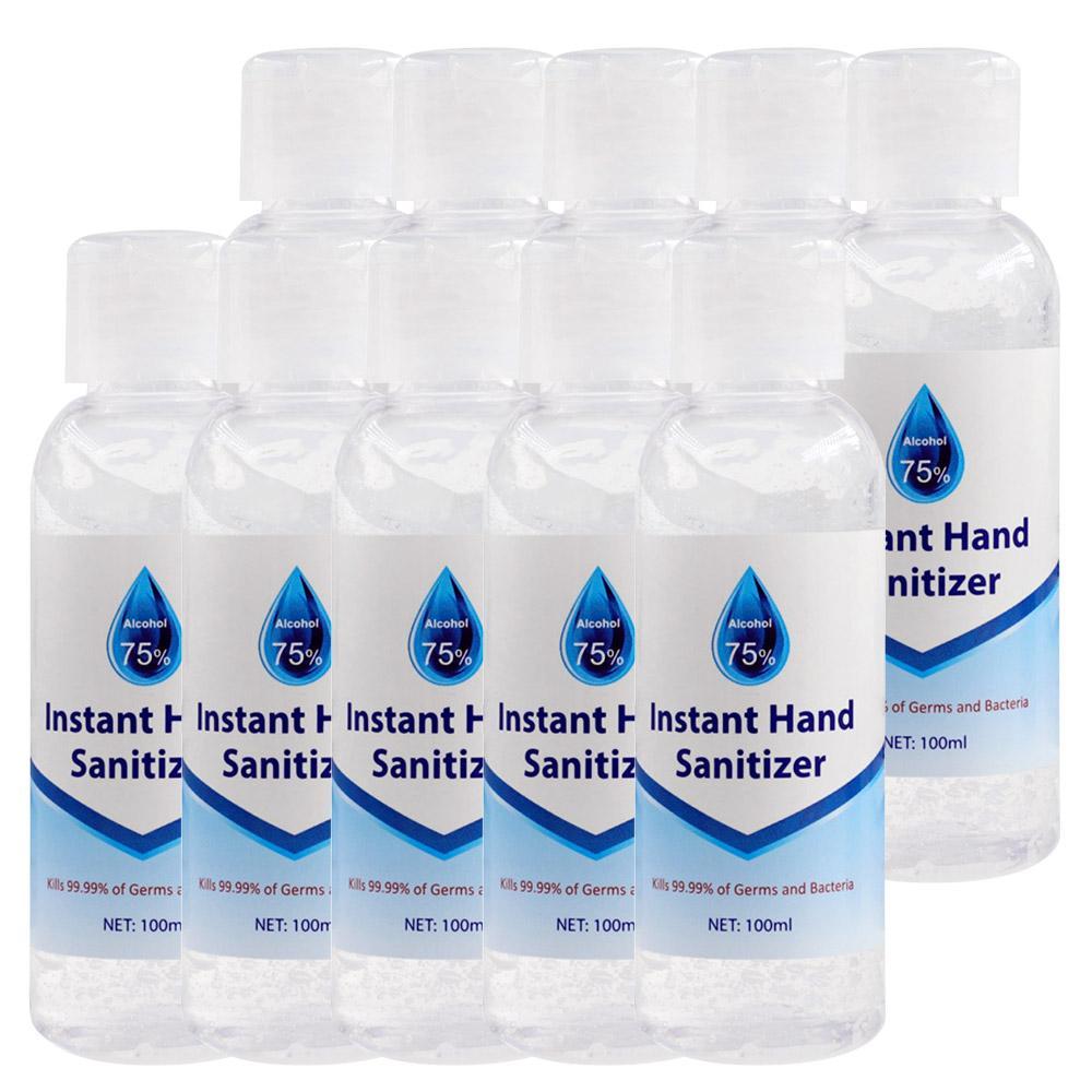 10PCS 100ml απορροφητικό αλκοόλ γέλης πλένονται ελεύθερο απολυμαντικό χέρι με 75% αλκοόλ