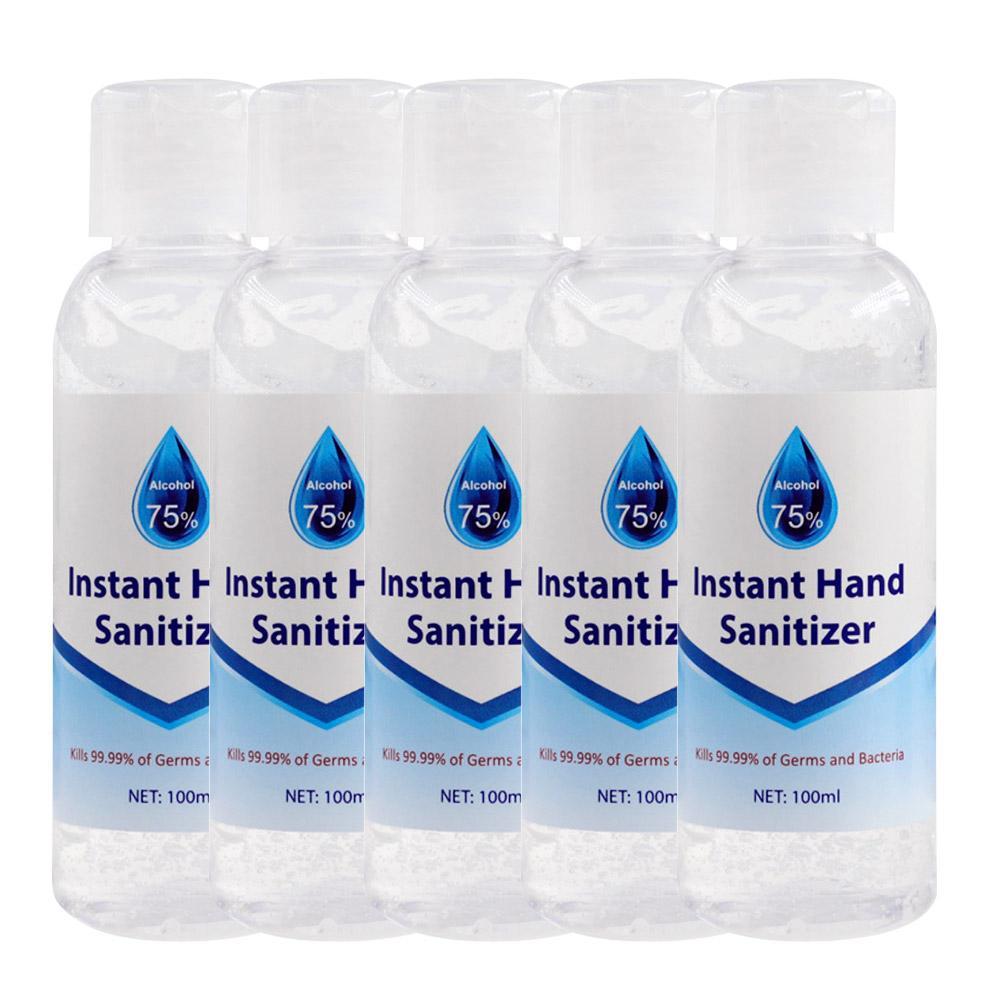 5 יחידות 100 ml ג'ל לניקוי אלכוהול חד פעמי לשטוף כלים ללא ניקוי ידיים עם 75% אלכוהול