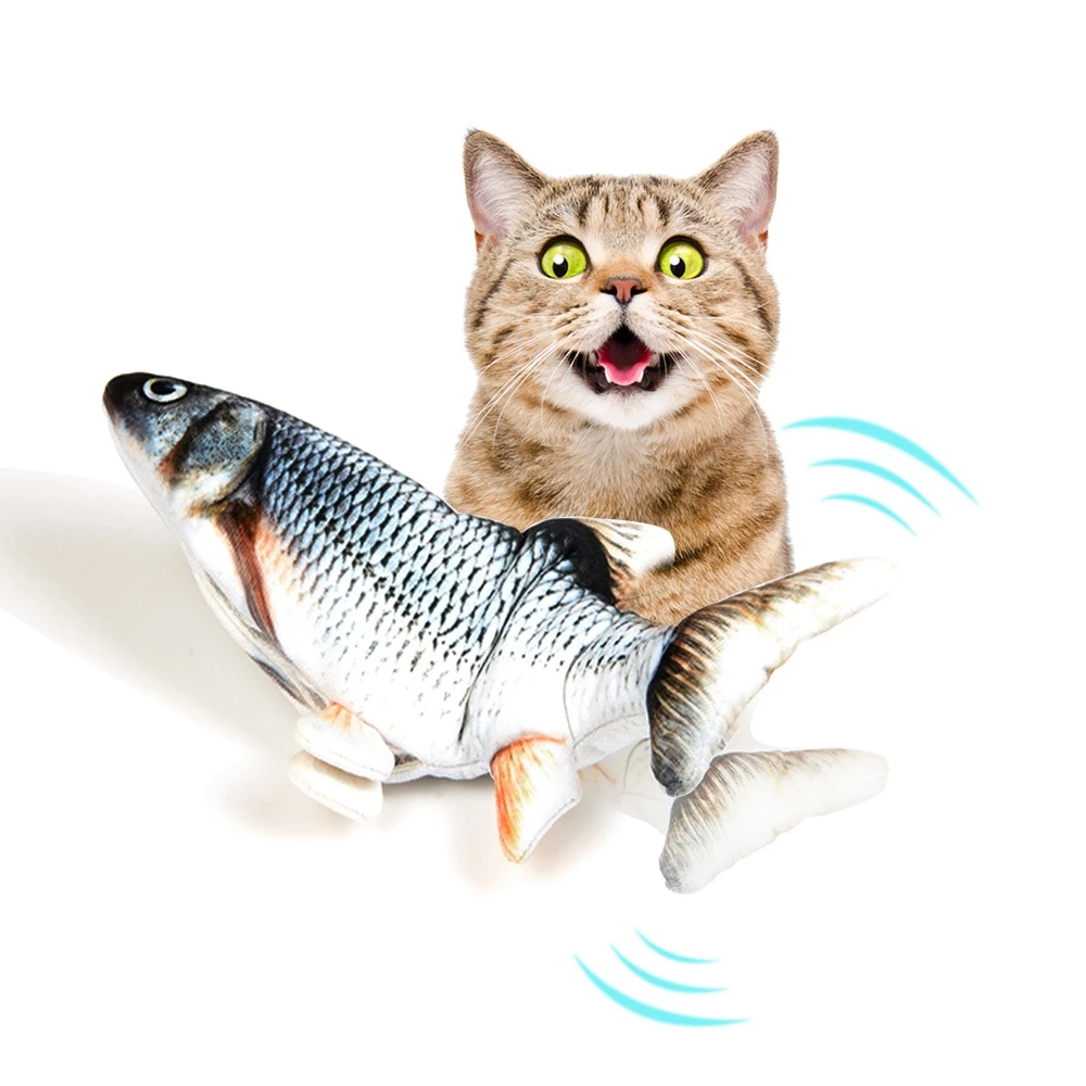 30cm Electric Simulation Fish Cat Toy - Grass Carp