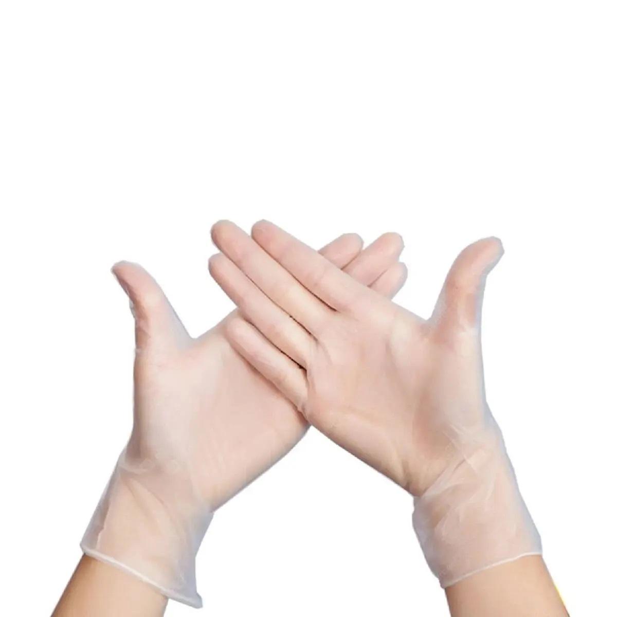 100pcs INTCO gants de protection contre les virus en PVC jetables ultra-doux sans latex sans DOP niveau de qualité alimentaire pour la cuisson peinture travaux ménagers taille M - transparent