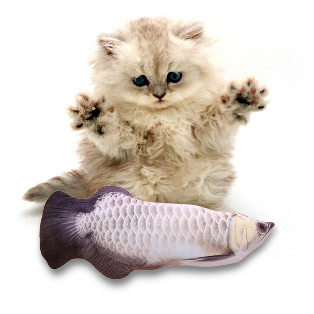 30 cm Symulacja elektryczna zabawka dla kota rybnego - srebrna arowana