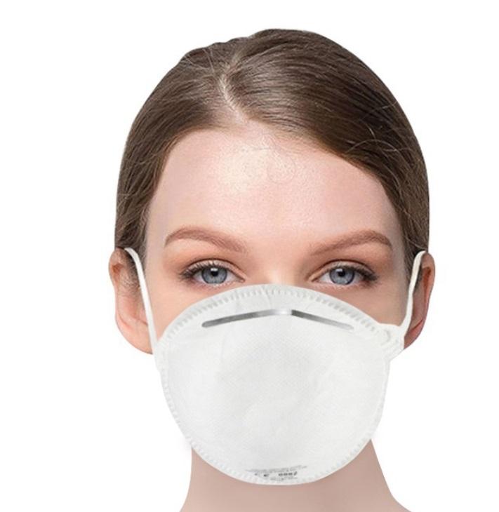 20PCS Máscara de respirador desechable FFP2 NR estándar de la UE con eficiencia de filtro certificada CE 95% por encima de la respiración fácil Desgaste cómodo para la protección contra la gripe PM 2.5 Antivirus Contaminación Alergia Haze- Blanco