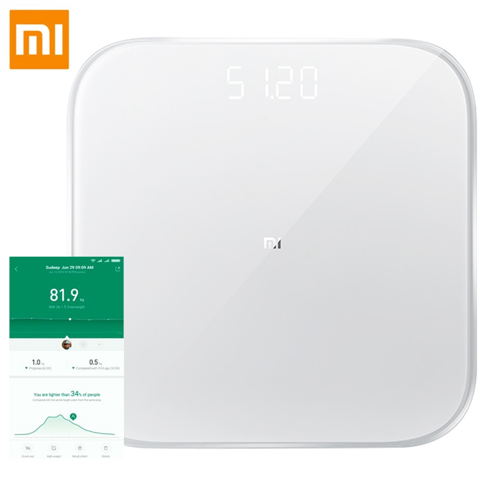 Bilancia pesapersone Xiaomi Smart 2 Bluetooth 5.0 APP Controllo LED Display Fitness Yoga Strumenti Bilancia Versione globale - Bianco