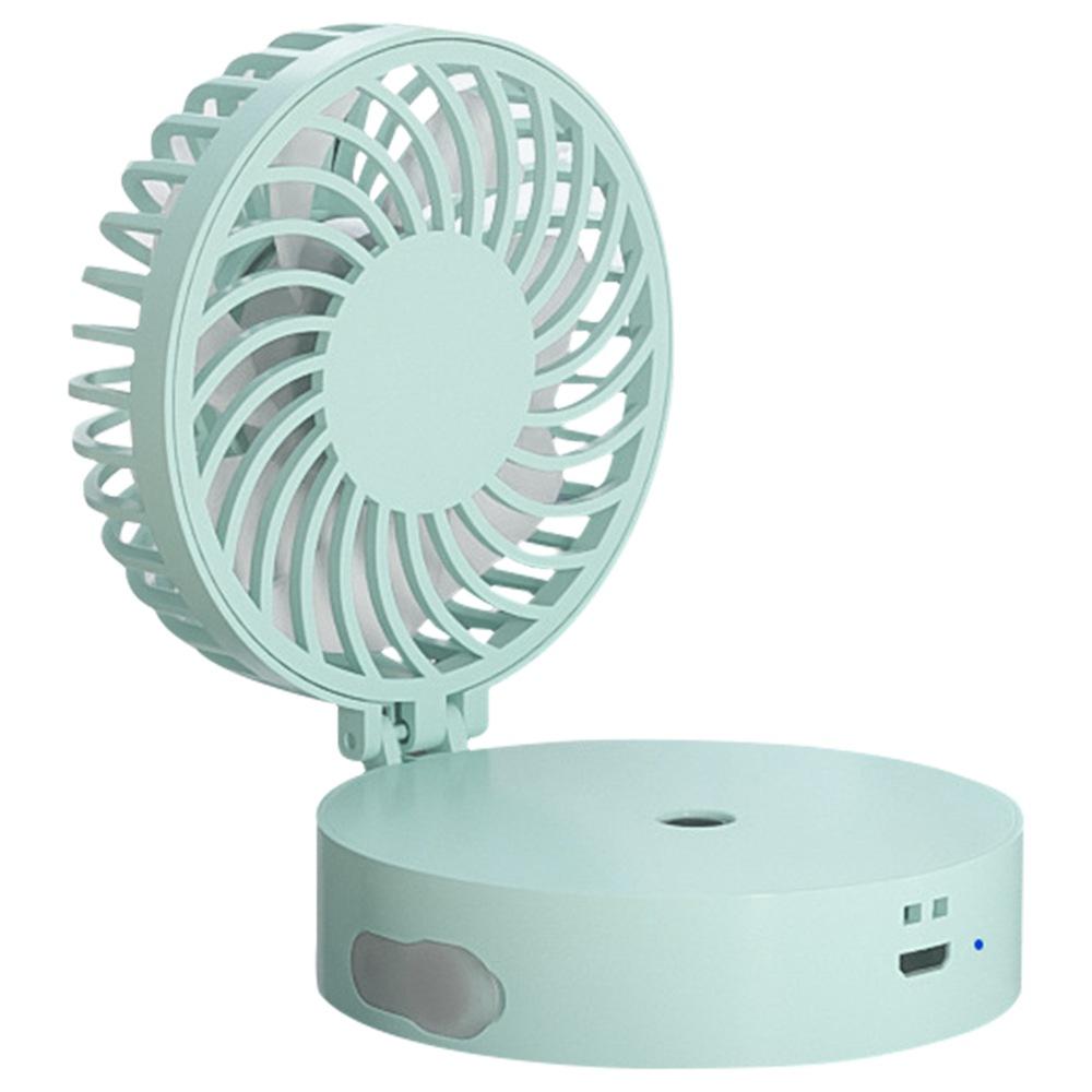 Color : Blue Fan Mini Portable Folding Fan Handheld Hanging Neck Fan Cooling Mirror Electric Fan Outdoor Accessories Mini Portable Cooling Fan