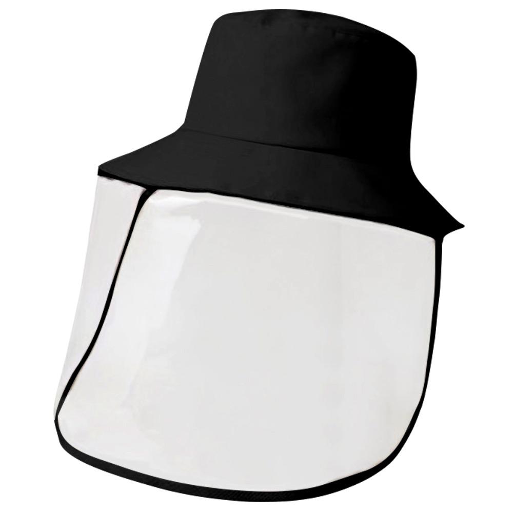 غطاء واقي مضاد للبصق للقبعة في الهواء الطلق قبعة صياد قبعة مكافحة الضباب اللعاب قبعة فارغة فارغة لمكافحة الوباء antiHat - أسود