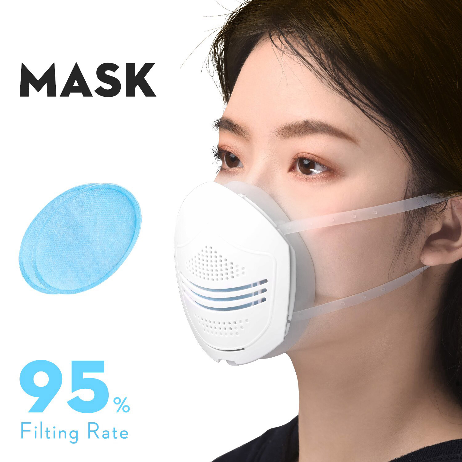 Reusable Washable Multi-Function Air Filter Mask Filtration Efficiency 95% With 30pcs Replaceable Filter Element For Anti-Pollution Dust Allergy Haze - White