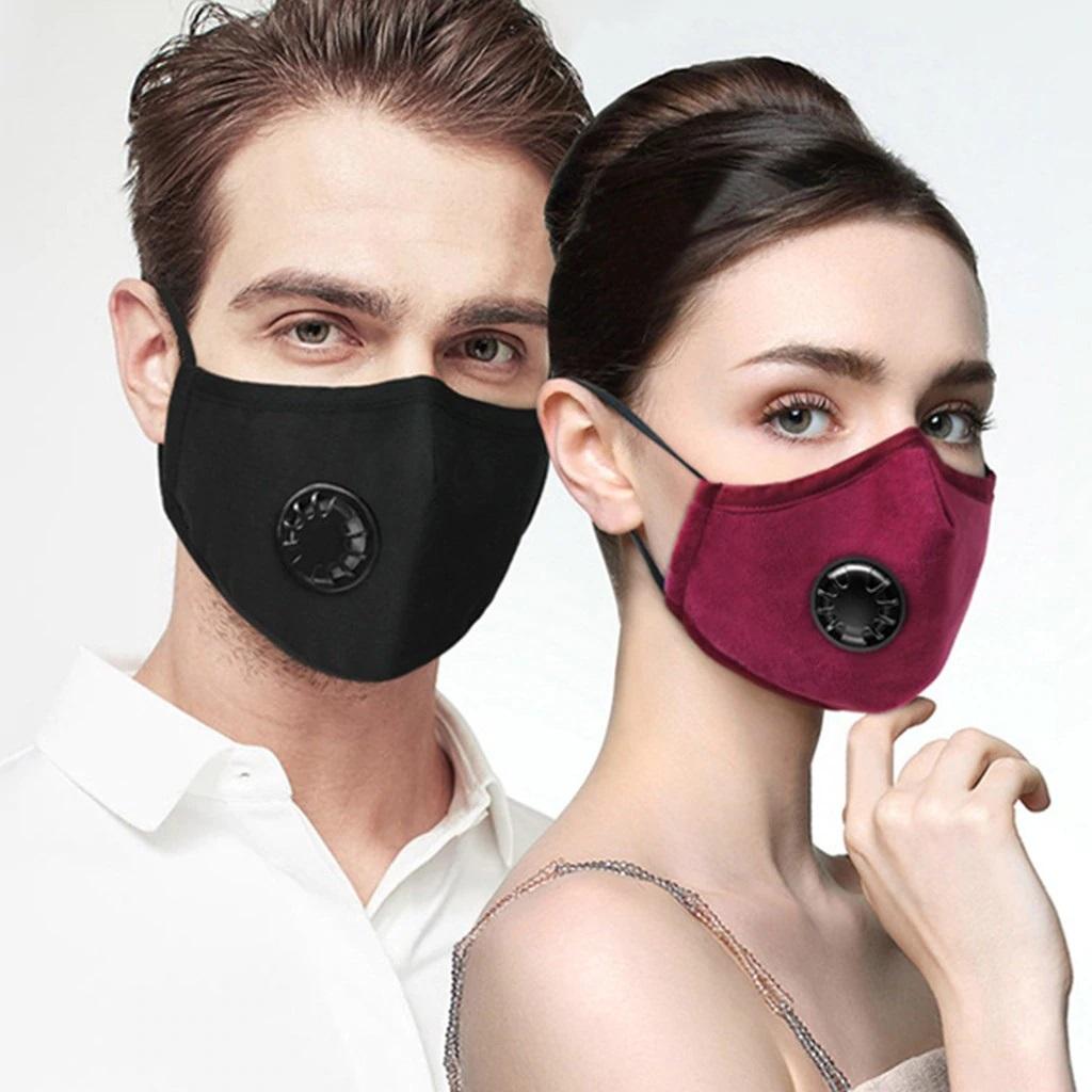PM2.5アンチヘイズマスクブレスバルブコットンマスクアンチダストマウスマスク冬イヤーマフ活性炭フィルターレスピレーター-ブラック