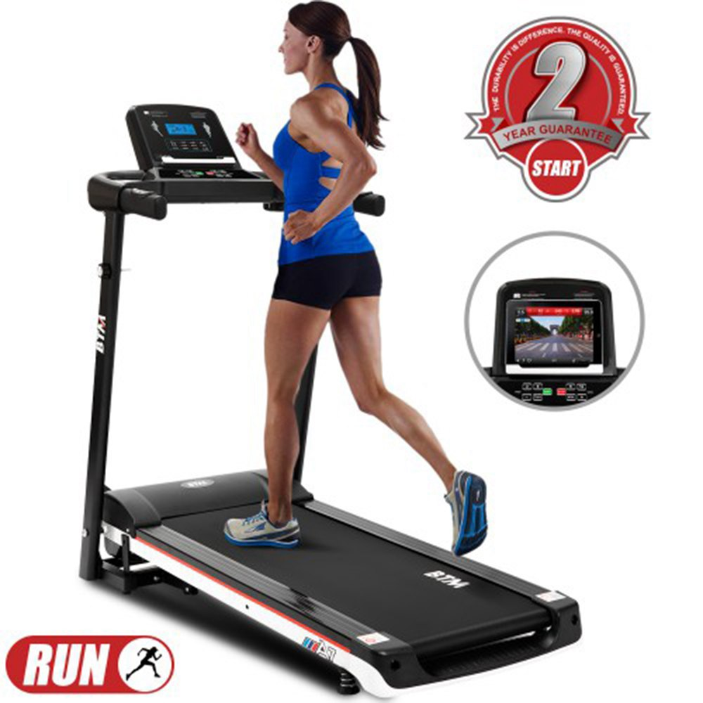 BTM A7 Electric Folding Treadmill 1100W Motor Maximum Speed 7.5MPH LED Intelligent Display Digital Control Fitness Shaping - Black