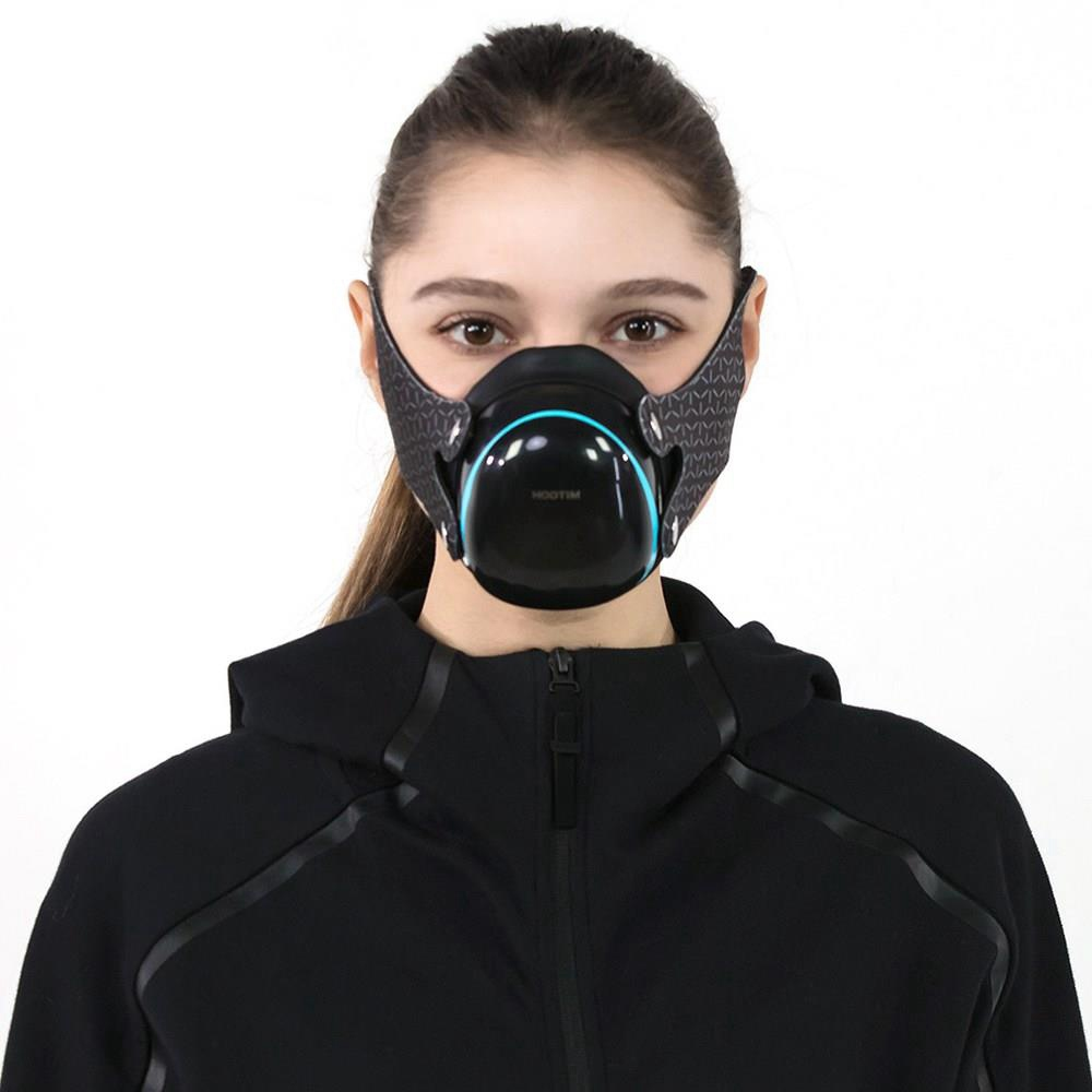 Hootim Smart Anti-haze Sterilization Mask Active Air Supply Respiration Valve Element H11 Filter 3-layer Filtration Efficiency 98.9% 760mAh Battery - Black