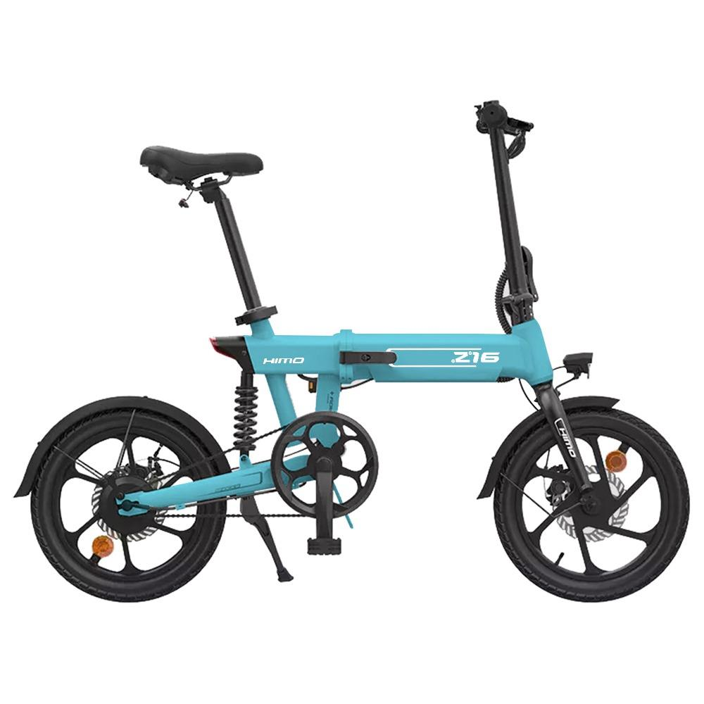 HIMO Z16 Folding Electric Bicycle 250W Motor Up To 80km Range Max Speed 25km/h Removable Battery IPX7 Waterproof Smart Display Dual Disc Brake Global Version - Blue
