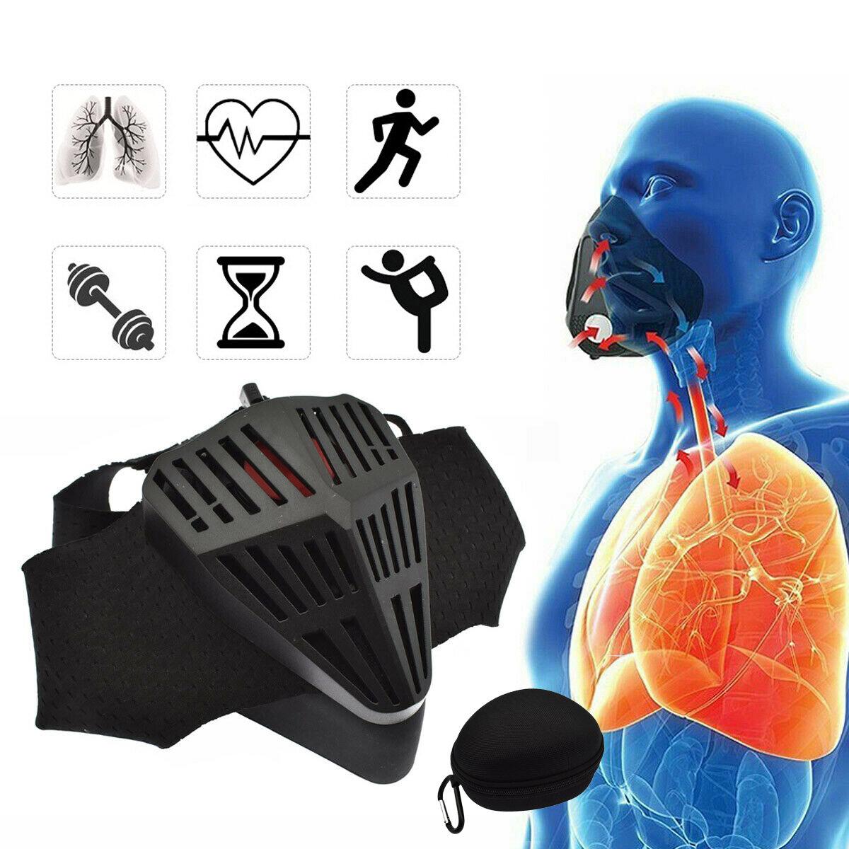 Бег Фитнес-маска 6 Уровни сопротивления вдоху 6 передач Регулируемая для тренировок Кислород Большая высота -Черный