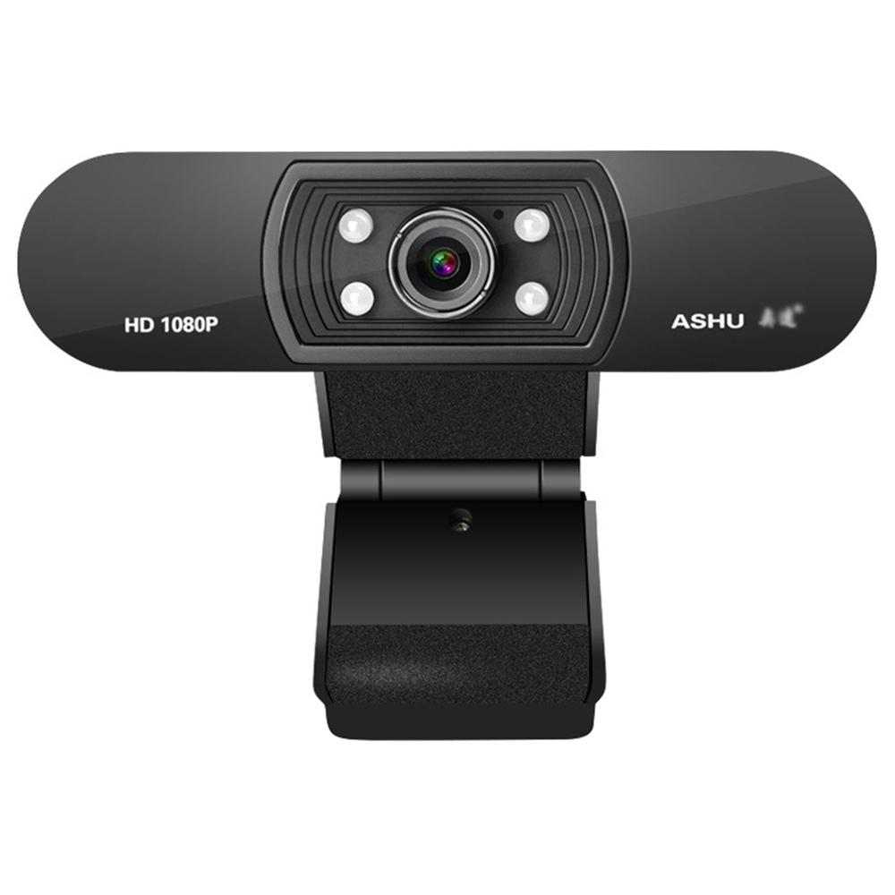 ASHU H800 1080P HDウェブカメラ内蔵マイク自動色補正サポートCC2000ターゲットICQ(ラップトップデスクトップ用)-ブラック