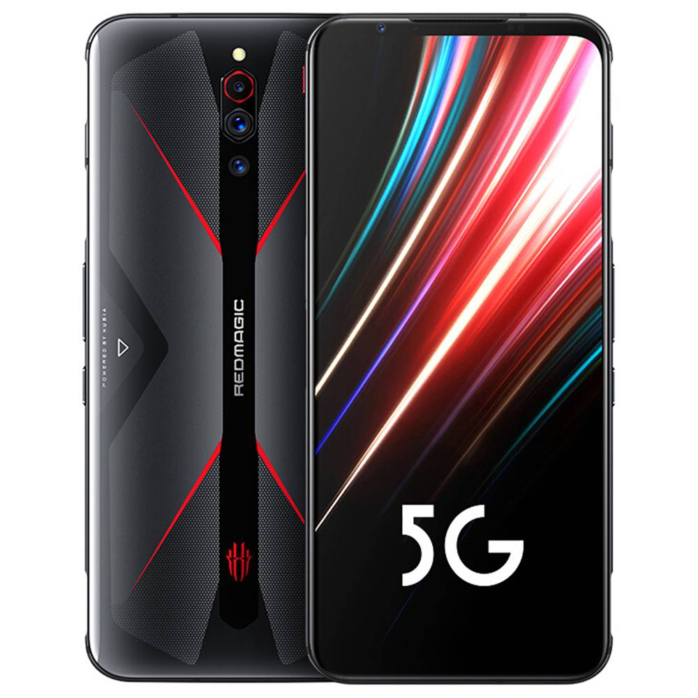 النوبة Red Magic 5G Gaming Smartphone Global Rom 6.65 & quot؛ شاشة 144 هرتز AMOLED Qualcomm Snapdragon 865 8GB RAM 128GB ROM Android 10.0 Triple Rear Camera 4500mAh Battery Dual SIM Dual Standby - Black