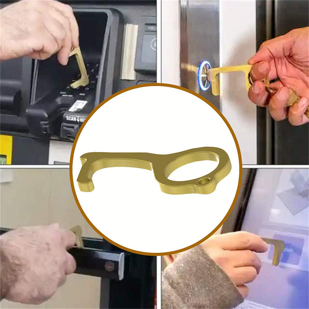 Hygiene Hand Antimicrobial Brass Clean Key, No-Touch Door Opener & Closer Stylus Keep Hands Clean, Portable Stick for Push The Elevator Button, Shape of Key - Easy to Carry and Use -Gold